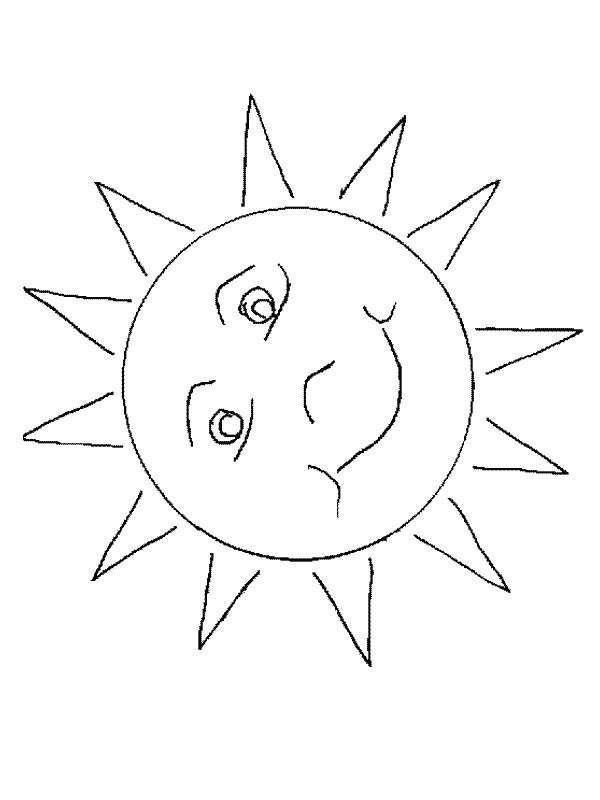 Coloriage et dessins gratuits Soleil stylisé en couleur à imprimer