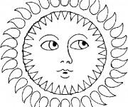 Coloriage Soleil vue de face