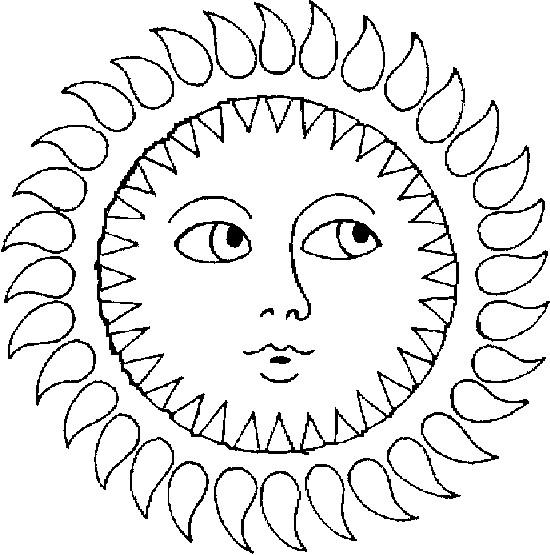 Coloriage et dessins gratuits Soleil vue de face à imprimer