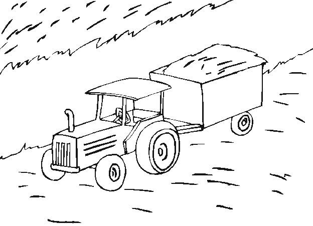 Coloriage tracteur agriculture dessin gratuit imprimer - Coloriage tracteur avec remorque ...