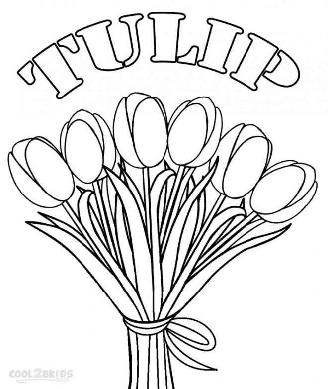 Coloriage Bouquet De Fleurs De Tulipe Dessin Gratuit A Imprimer