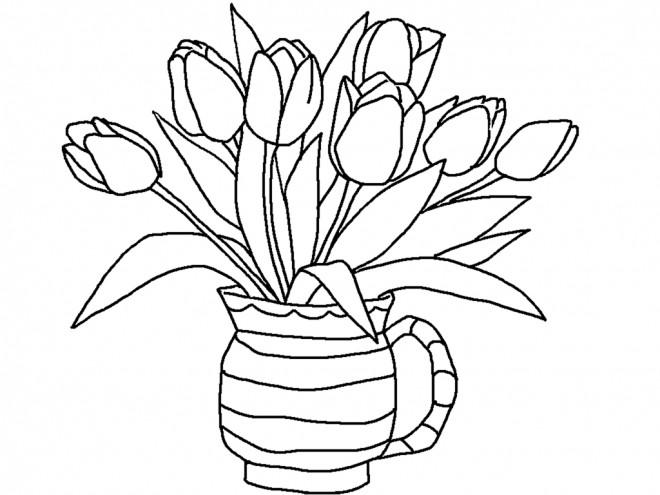 Coloriage et dessins gratuits Bouquet de Tulipe à La Maison à imprimer