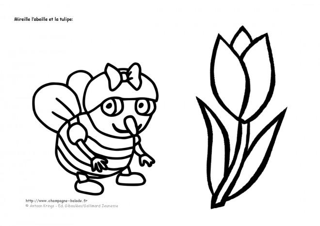 Coloriage Mireille Labeille.Coloriage L Abeille Et La Tulipe Dessin Gratuit A Imprimer