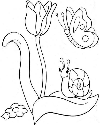 Coloriage et dessins gratuits Le Papillon et La  Tulipe à imprimer