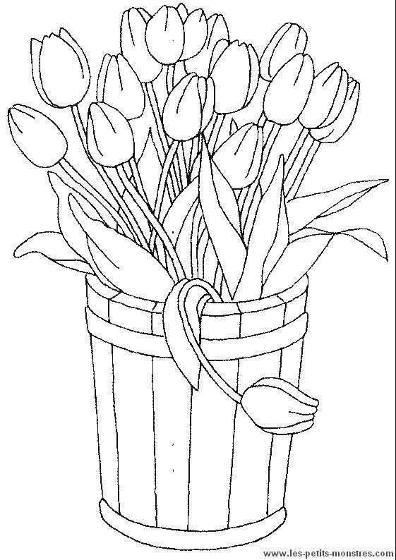 Coloriage Fleur Pot.Coloriage Pot De Fleurs De Tulipe Dessin Gratuit A Imprimer