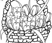 Coloriage Tulipes en carte de vœux
