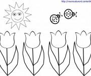 Coloriage et dessins gratuit Tulipes et Soleil souriant à imprimer