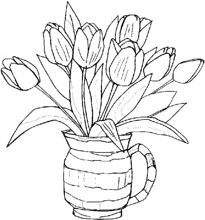 Coloriage Vase à Fleur Tulipe dessin gratuit à imprimer
