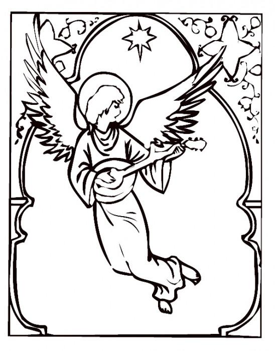 Coloriage et dessins gratuits Ange avec instrument de musique à imprimer