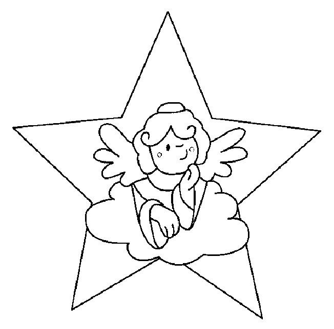 Coloriage et dessins gratuits Ange dans une étoile à imprimer