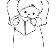 Coloriage et dessins gratuit Ange enfant en récitant à imprimer