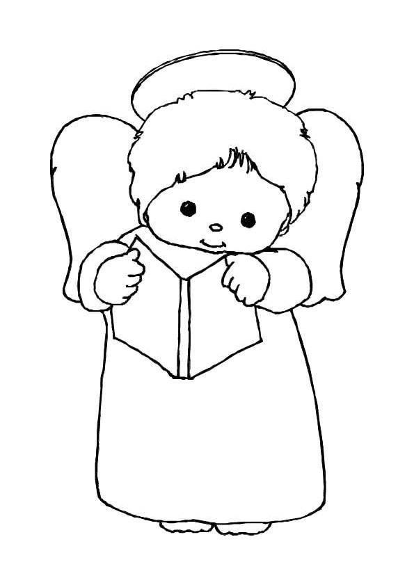 Coloriage et dessins gratuits Ange enfant en récitant à imprimer