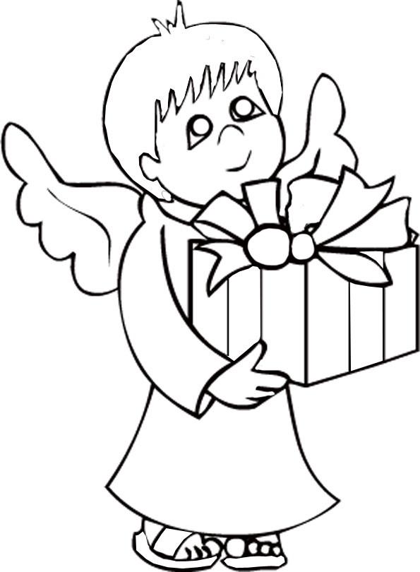Coloriage et dessins gratuits Ange et cadeau Noel à imprimer