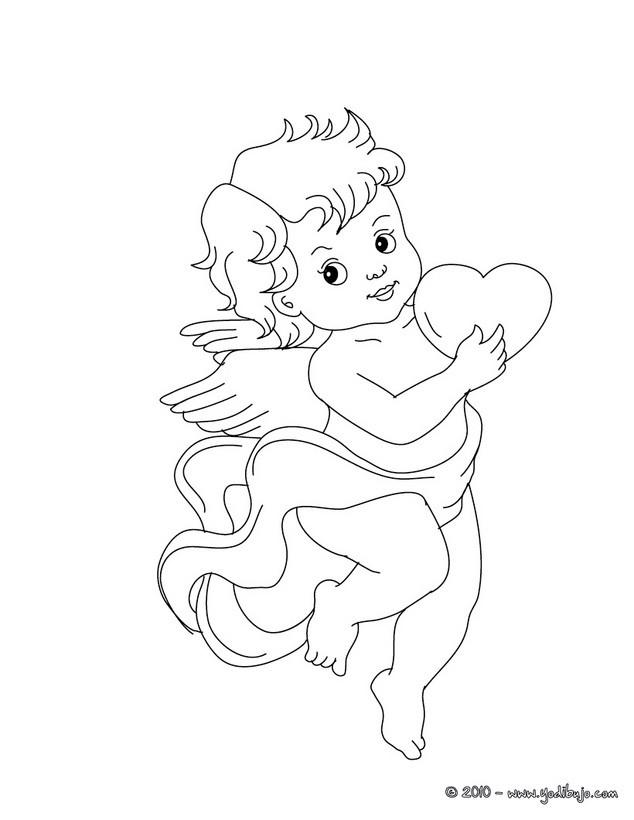 Coloriage ange et coeur dessin gratuit imprimer - Coloriage ange ...