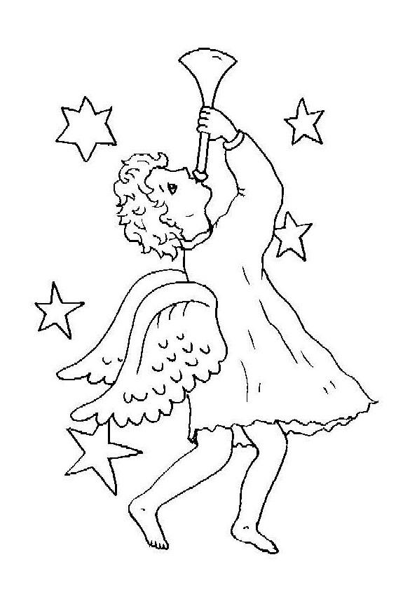 Coloriage et dessins gratuits Ange et étoiles à imprimer