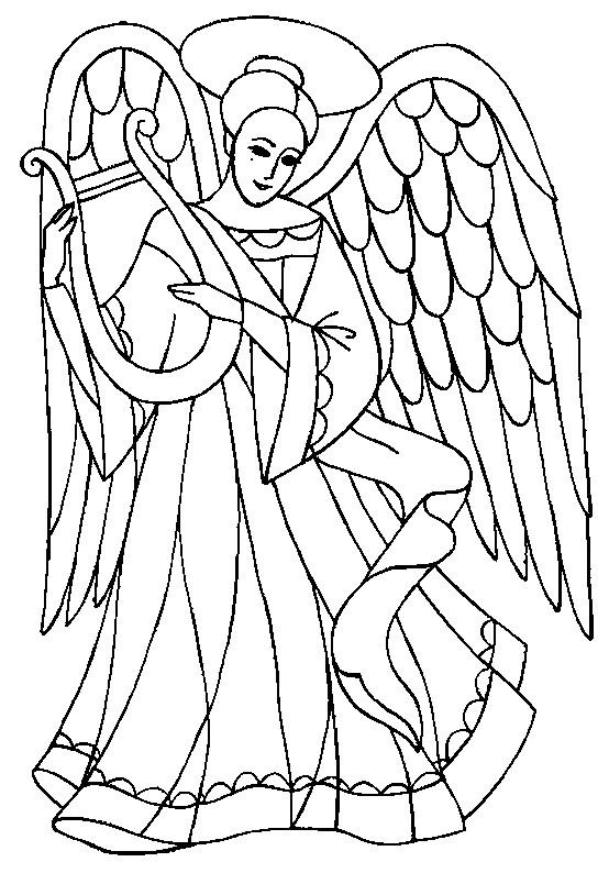 Coloriage ange et harpe dessin gratuit imprimer - Dessin d ange gardien ...