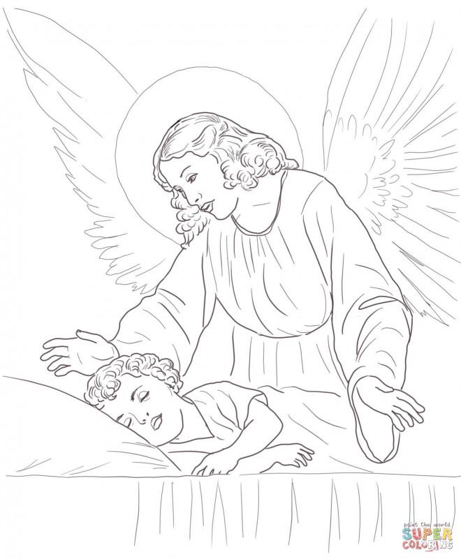 Coloriage et dessins gratuits Ange gardien et enfant dormant à imprimer
