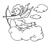 Coloriage et dessins gratuit Ange gardien sur les nuages à imprimer