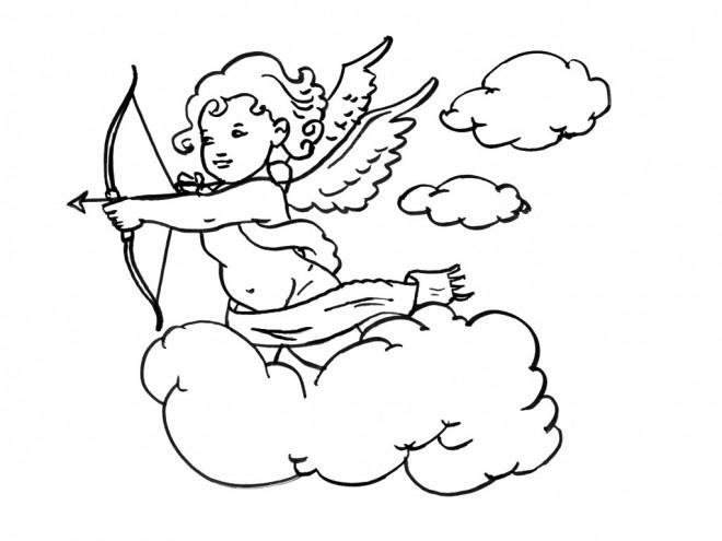 Coloriage ange gardien sur les nuages dessin gratuit - Dessin d ange gardien ...
