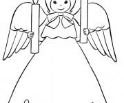 Coloriage et dessins gratuit Ange porte deux bougies à imprimer