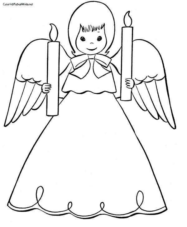 Coloriage et dessins gratuits Ange porte deux bougies à imprimer
