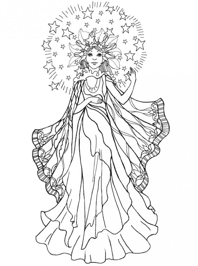 Coloriage et dessins gratuits Ange princesses à imprimer