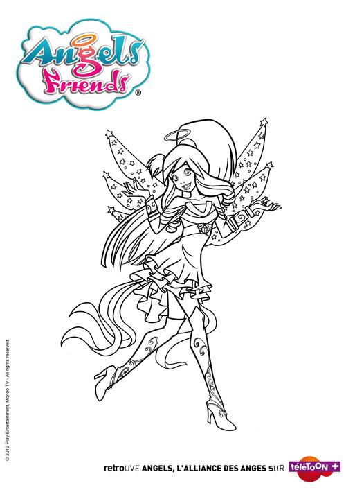 Coloriage et dessins gratuits Anges amies à imprimer