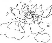 Coloriage Anges dans le ciel