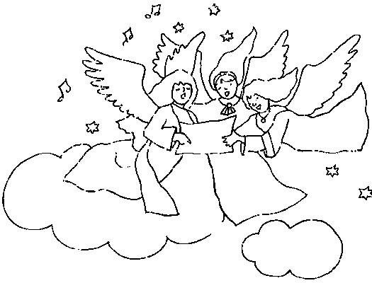 Coloriage et dessins gratuits Anges dans le ciel à imprimer