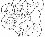Coloriage Deux anges pour fille