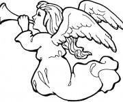 Coloriage et dessins gratuit La Ange de Noël souffle de la trompette à imprimer