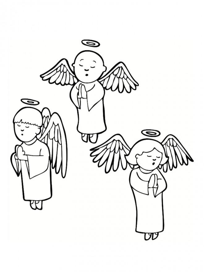 Coloriage et dessins gratuits La prière des petits anges à imprimer