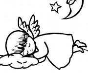 Coloriage Petit Ange dormant