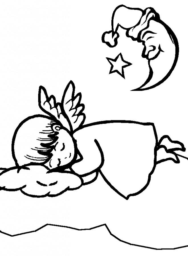 Coloriage et dessins gratuits Petit Ange dormant à imprimer