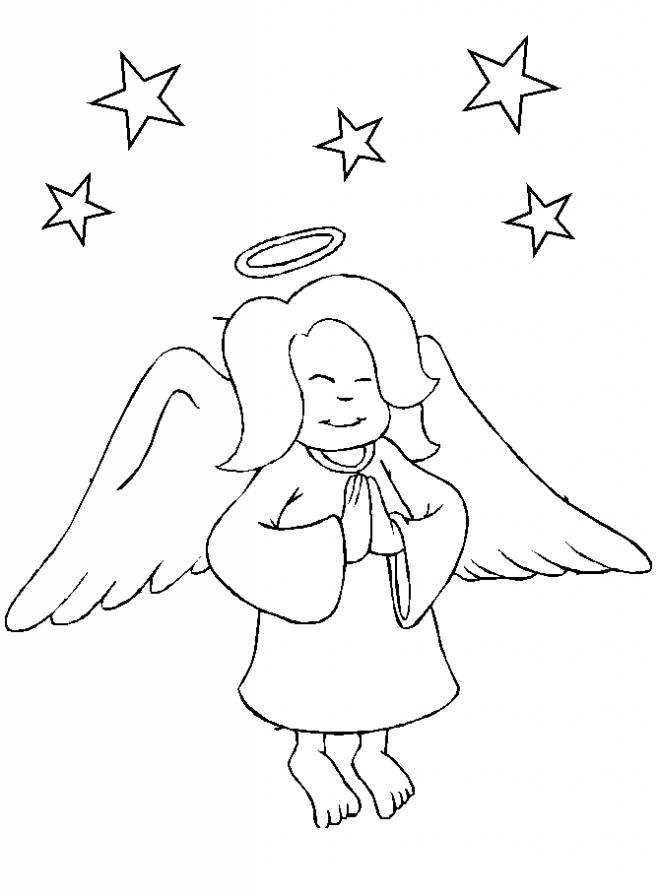 Coloriage et dessins gratuits Petit ange sage à imprimer