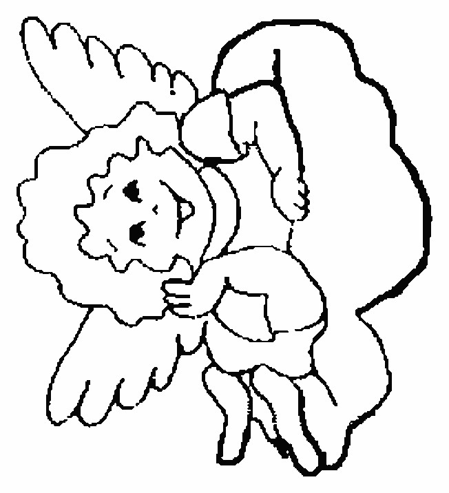 Coloriage petit ange souriant dessin gratuit imprimer for Angeli da stampare e colorare