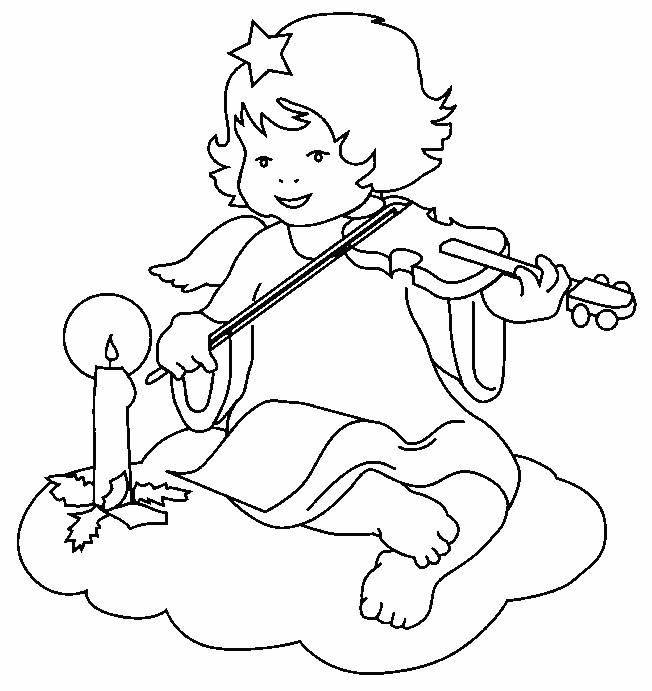 Coloriage et dessins gratuits Petite Ange joue du violon à imprimer