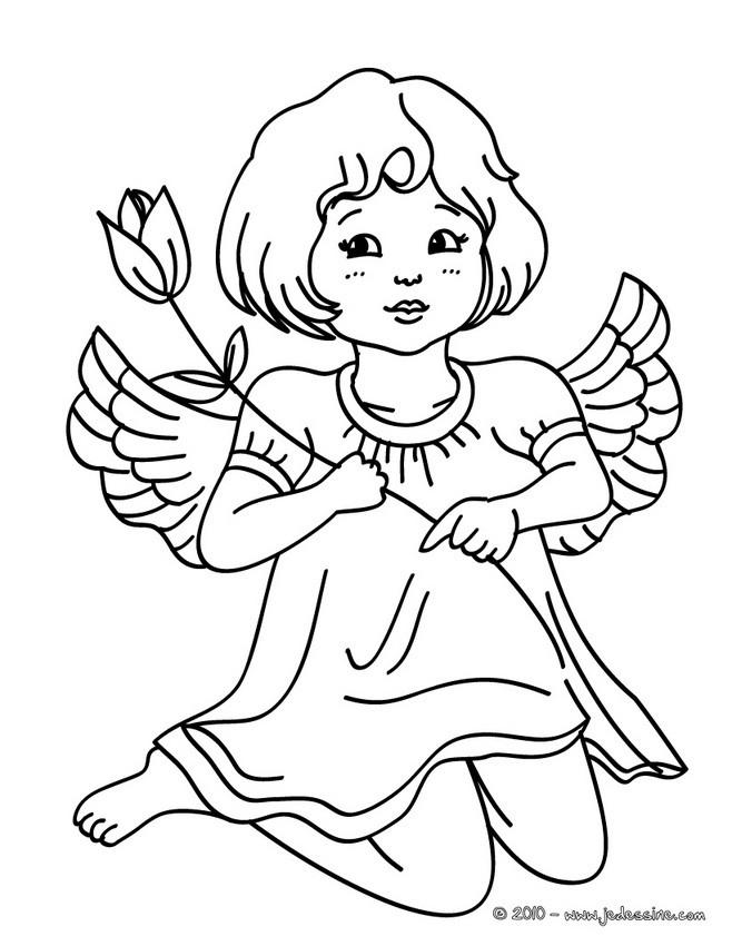 Coloriage petite ange porte une fleure dessin gratuit - Coloriage d ange ...