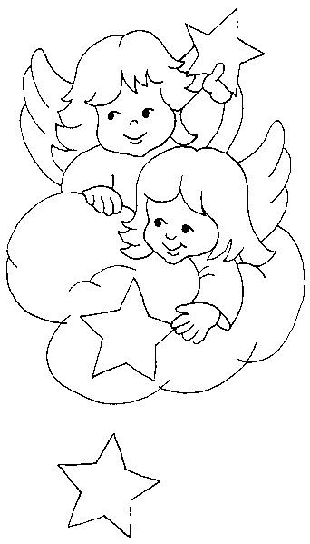 Coloriage et dessins gratuits Petits Anges avec les étoiles à imprimer