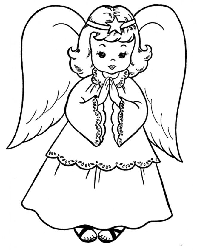 Coloriage et dessins gratuits Prière d'une petite ange à imprimer