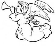 Coloriage et dessins gratuit Trompette ange noel à imprimer