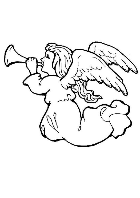 Coloriage trompette ange noel dessin gratuit imprimer - Dessin d ange gardien ...