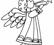 Coloriage et dessins gratuit Un Ange annonce le Noel à imprimer