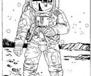 Coloriage et dessins gratuit Astronaute américain lune à imprimer