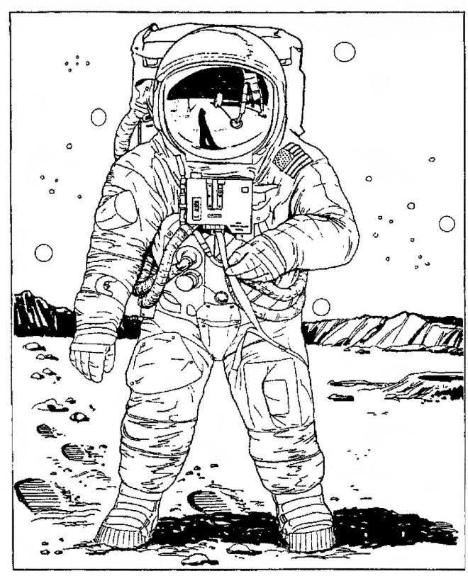 Coloriage et dessins gratuits Astronaute américain lune à imprimer
