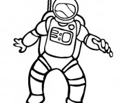 Coloriage et dessins gratuit Astronaute dans l'espace à imprimer