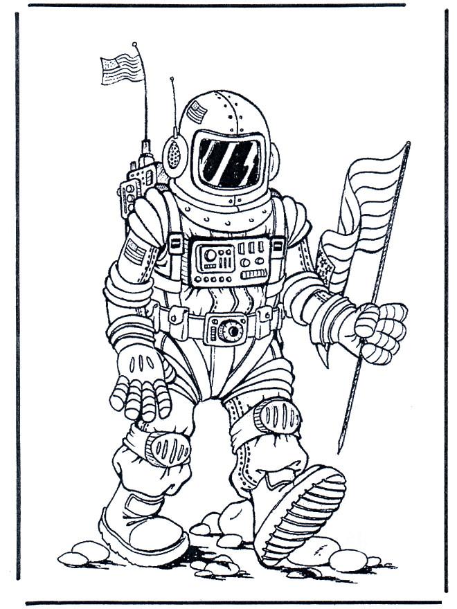 Coloriage et dessins gratuits Astronaute et drapeau américain à imprimer