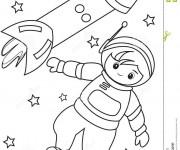 Coloriage Astronaute et fusée