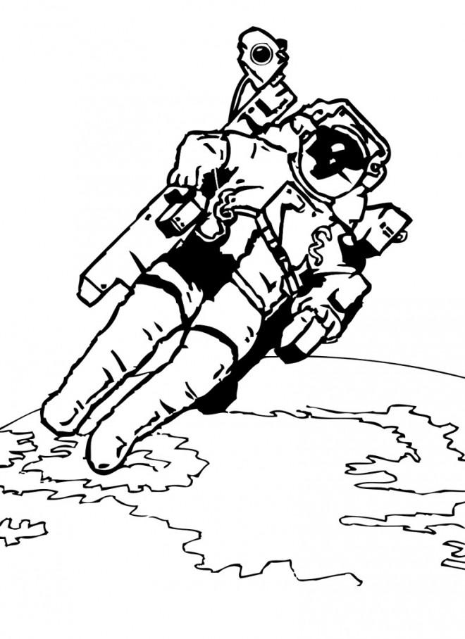 Coloriage et dessins gratuits Astronaute gratuitement à imprimer