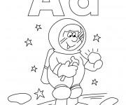 Coloriage et dessins gratuit Astronaute planète à imprimer